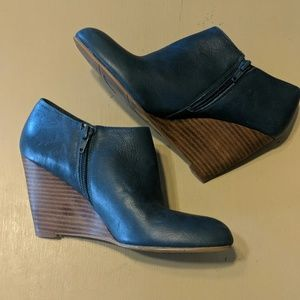 Blue leather wedges